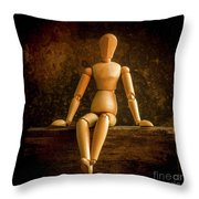 Mannequins On A Wooden Box Throw Pillow