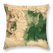 Map Of American Forests 1883 Throw Pillow