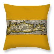 Map Of Crete 1584 Throw Pillow