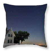 Marblehead Lighthouse At Night Throw Pillow