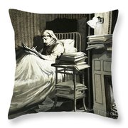 Marcel Proust Sat In Bed Writing Remembrance Of Things Past Throw Pillow