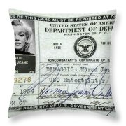 Marilyn Monroe Dept Of Defense Identification Card 1954 Throw Pillow