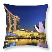 Marina Bay Sands Art Science Museum And Helix Bridge At Dusk Singapore Throw Pillow