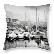 Marina Geneva Switzerland Black And White Throw Pillow