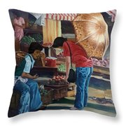 Market Scene Divisoria Throw Pillow