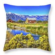 Marlboro Barn, Gardnerville, Nevada Throw Pillow