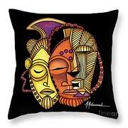 Maruvian Masks 2 Black Throw Pillow