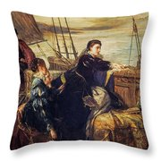 Mary, Queen Of Scots - The Farewell To France, 1867  Throw Pillow