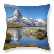 Matterhorn From Lake Stelliesee 07, Switzerland Throw Pillow