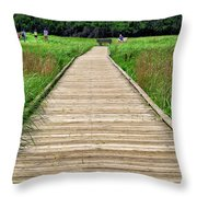 Boardwalk At Mccormack's Beach Provincial Park Throw Pillow