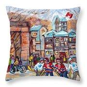Mcgill University Roddick Gates Original Painting For Sale Hoockey Art C Spandau Canadian City Scene Throw Pillow