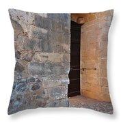Medieval Castle Entrance In Algarve Throw Pillow