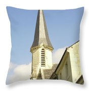 medieval church spire in France Throw Pillow