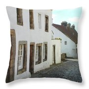 medieval cobbled street in Culross, fife Throw Pillow