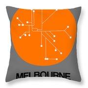 Melbourne Orange Subway Map Throw Pillow