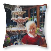 Melody By The Fountain Throw Pillow