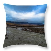 Meltwater Valley On Svalbard Throw Pillow