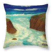 Mendocino Waves Throw Pillow