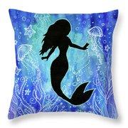 Mermaid Under Water Throw Pillow