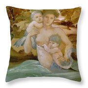Mermaid With Her Offspring Throw Pillow