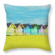 Mersea Island Beach Hut Oil Painting Look 2 Throw Pillow