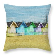 Mersea Island Beach Hut Oil Painting Look 3 Throw Pillow
