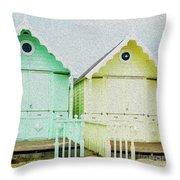 Mersea Island Beach Hut Oil Painting Look 5 Throw Pillow