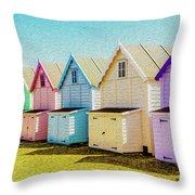 Mersea Island Beach Hut Oil Painting Look 9 Throw Pillow