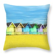 Mersea Island Beach Huts, Image 2 Throw Pillow