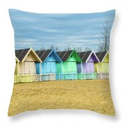 Mersea Island Beach Huts, Image 3 Throw Pillow