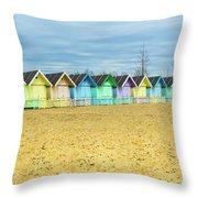 Mersea Island Beach Huts, Image 4 Throw Pillow