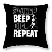 Metal Detector Beach Pun Apparel Throw Pillow