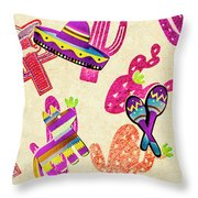Mexican Mural Throw Pillow