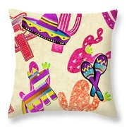 Mexican Mural Throw Pillow