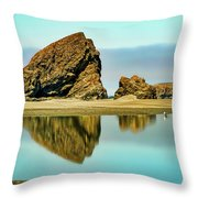Meyers Beach Reflections - Oregon  Throw Pillow