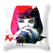 Mia Snorting Watercolor Throw Pillow