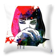 Mia Snorting Watercolor Throw Pillow