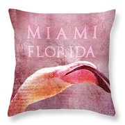 Miami Florida- Pink Flamingo Throw Pillow