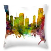 Miami Florida Skyline Panoramic Throw Pillow
