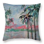 Miami Palms Throw Pillow by Kristen Abrahamson