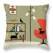 Mid Century Bookcase Room Throw Pillow by Donna Mibus