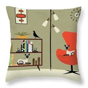 Mid Century Bookcase Room With Siamese Throw Pillow by Donna Mibus