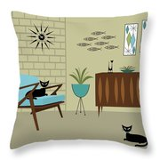 Mid Century Modern Room Throw Pillow by Donna Mibus