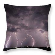 Mid July Nebraska Lightning 020 Throw Pillow by Dale Kaminski