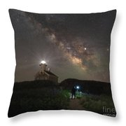 Midnight Explorer At North Lighthouse Throw Pillow by Michael Ver Sprill