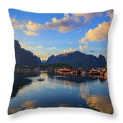 Midnight Sun Falls Upon The Village Of Reine Throw Pillow