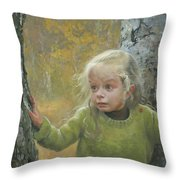 Mila Between Two Birches Throw Pillow