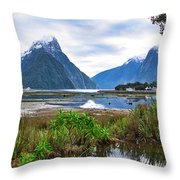 Milford Sound - New Zealand Throw Pillow