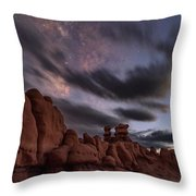 Milky Way Rises Over Goblins Throw Pillow