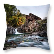 Mill On Crystal River Throw Pillow